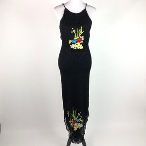 Sue Wong Knit Embroidered Crochet Maxi Dress